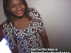 Ebony Girl Using Her Tongue Ring In The Gloryhole