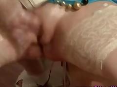 Gloryhole Messy Fetish Slut Sucks Fake Cock