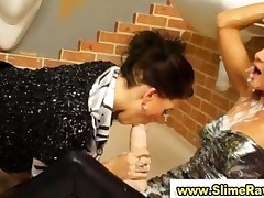 Glamorous Lesbos Get Bukkake From Plastic Cocks In Gloryhole