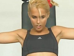 Blonde Babe Working Out In The Gym