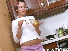 Innocent Schoolgirl In A Kitchen