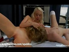 Lesbians Fucks Two Fucking Machines In Bed