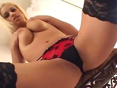 Blonde Fingering In Thigh High Fishnet Stockings