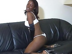Ebony Jerk Off Teacher Spreads On The Couch To Tease