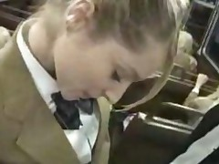 Schoolgirl Handjob On Bus