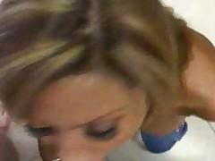 Blonde Slut Blowjob In Her Kitchen