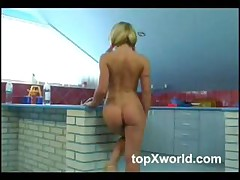 Hot Blonde Plays With Herself In The Kitchen Pt1