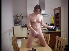 Amateur Girlfriend Masturbating Black Dildo Fuck In Kitchen