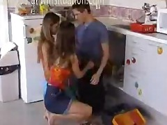 Threesome In The Kitchen 2 Teens And A Big Cock