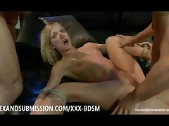 Blonde Babe Loves Fucking On The Leather Furniture