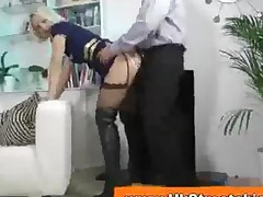 Blonde In Leather Boots Sucks Older Man