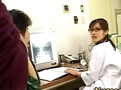 Asian Nurse Slut Jerks Off Patient