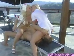 Two Hot Blonde Nurses Sucking To Save A Mans Life