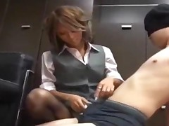 Hot Office Lady In Pantyhose Dominating Blindfolded Guy..