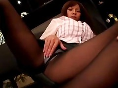 Office Lady In Pantyhose Fingering Herself On The Couch