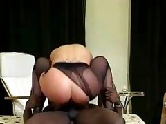 Fetish Blonde Rides A Black Stud In Ripped Pantyhose