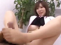Office Lady In Pantyhose Giving Hand And Footjob Riding..