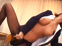 Schooglirl In Pantyhose Fucking Herself With A Dildo In..