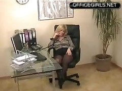 Slutty Secretary In Black Pantyhose