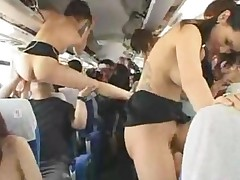 Japanese Pornstars Have Sex Party On A Bus