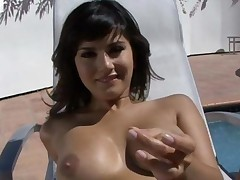 Sunny Rubs Her Snatch By The Pool