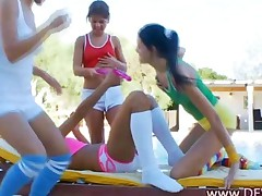 Four Insane Babes Licking At Pool