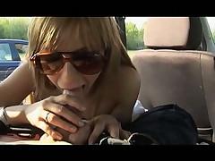 Fucking hot brunette in car