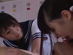 2 Schoolgirls Kissing With Guy Giving Handjob In The Gym