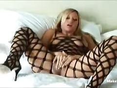 Blonde In Fishnet Stockings 1