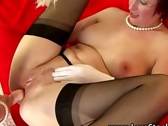 Mature Lesbian Euro Babe In Stockings Gets Fucked With Strapon