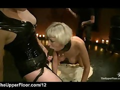Blonde Fucked With Strapon Dildo While Knee On Rice