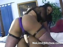Ebony Lesbian Fucks Tiny Pussy With Huge Strapon