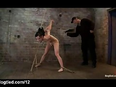 Bound Babe Strapon Fucked And Whipped In Dungeon