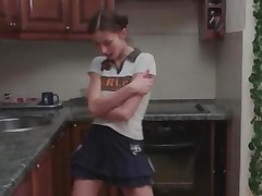 German Dashas Striptease In A Kitchen