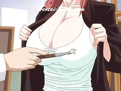Busty Hentai Teacher Plays With Her Tits With Art Brush