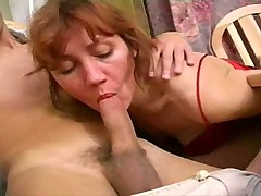 He fucks a milf in her own kitchen