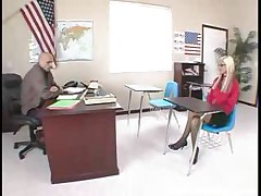 Blonde Teen With Glasses Screws Teacher And Gets Cum On..