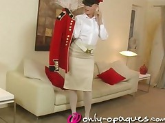 Fantastic Blonde Uniform And Stockings Strip