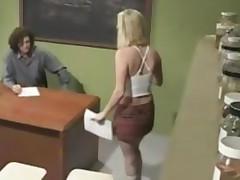 Amazing Blonde Schoolgirl Amber Rain Classroom Sex With..