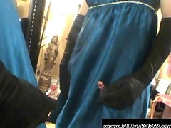 Crossdresser Showing Dick Upskirt In The Mirror