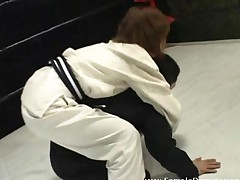 Mistress Beats Up Gagged Slave In Wrestling Match Inside..