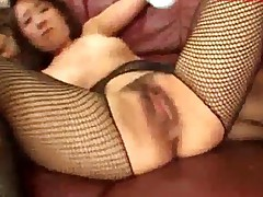 Milf In Fishnet Stockings Getting Her Pussy Stimulated And..