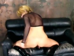 Masturbation In Knee High Boots And Fishnet