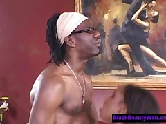 Cute Black Bitch In Red Fishnets Gets Banged