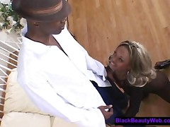 Petite Black Blonde Fucked In Black Fishnets