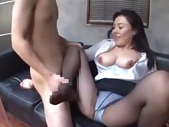 Office Lady In Pantyhose Giving Blowjob And Footjob Cum..