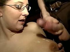 Busty babe sucking few cocks