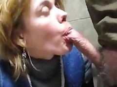Mature Slut Sucking Dick In The Bathroom