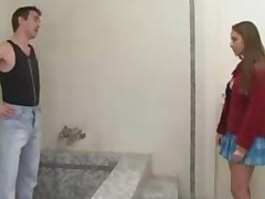 Bathroom Sex Of French Cute Teen Babe With Older Plumber..