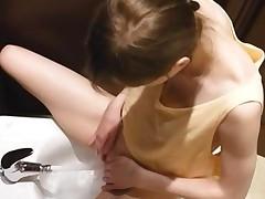 Solo Masturbation In The Bathroom